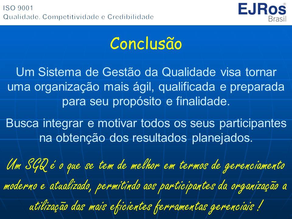 Conclusão Um Sistema de Gestão da Qualidade visa tornar uma organização mais ágil, qualificada e preparada para seu propósito e finalidade.
