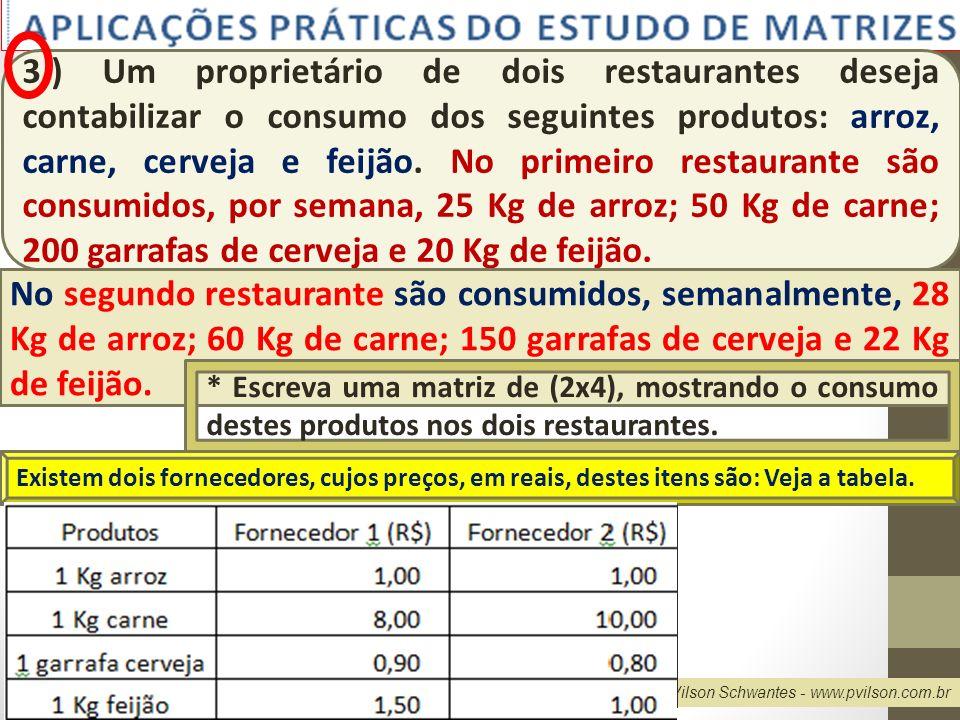 3.) Um proprietário de dois restaurantes deseja contabilizar o consumo dos seguintes produtos: arroz, carne, cerveja e feijão. No primeiro restaurante são consumidos, por semana, 25 Kg de arroz; 50 Kg de carne; 200 garrafas de cerveja e 20 Kg de feijão.