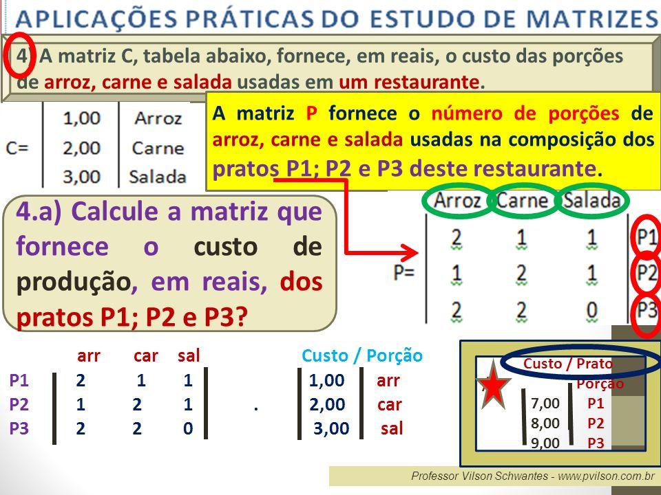4) A matriz C, tabela abaixo, fornece, em reais, o custo das porções de arroz, carne e salada usadas em um restaurante.