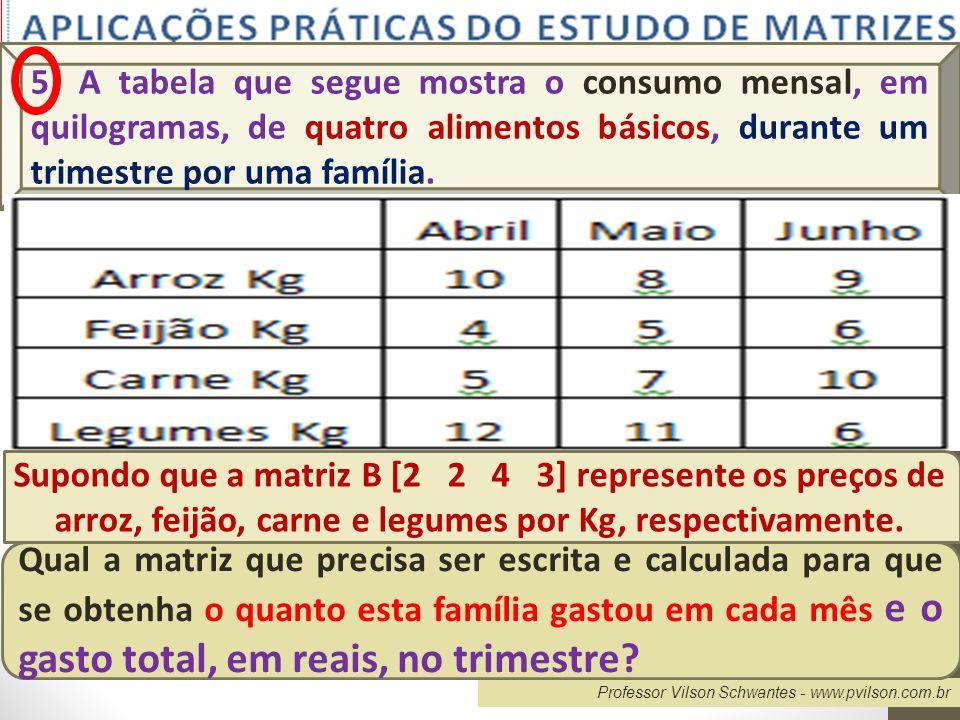 5) A tabela que segue mostra o consumo mensal, em quilogramas, de quatro alimentos básicos, durante um trimestre por uma família.