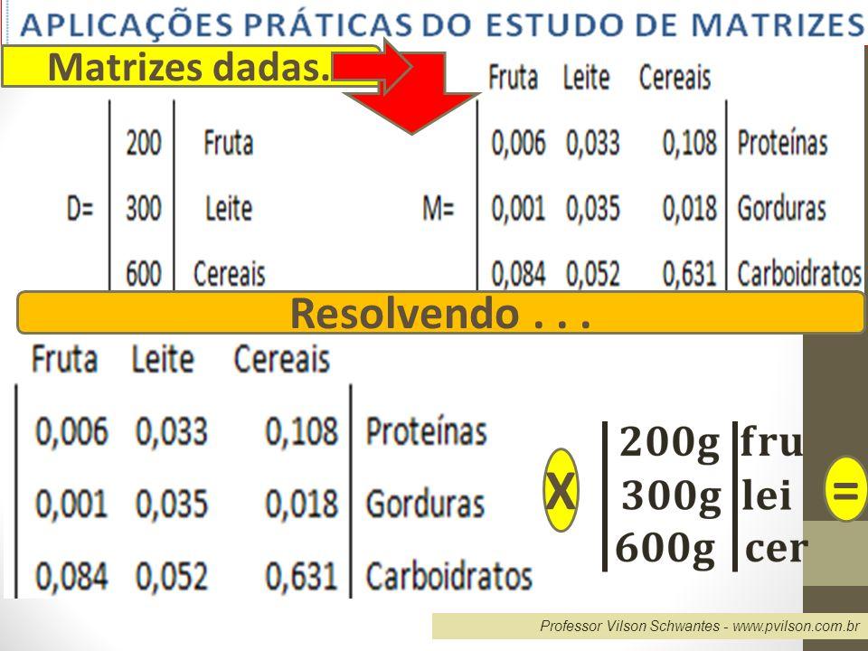 X = Resolvendo . . . Matrizes dadas.