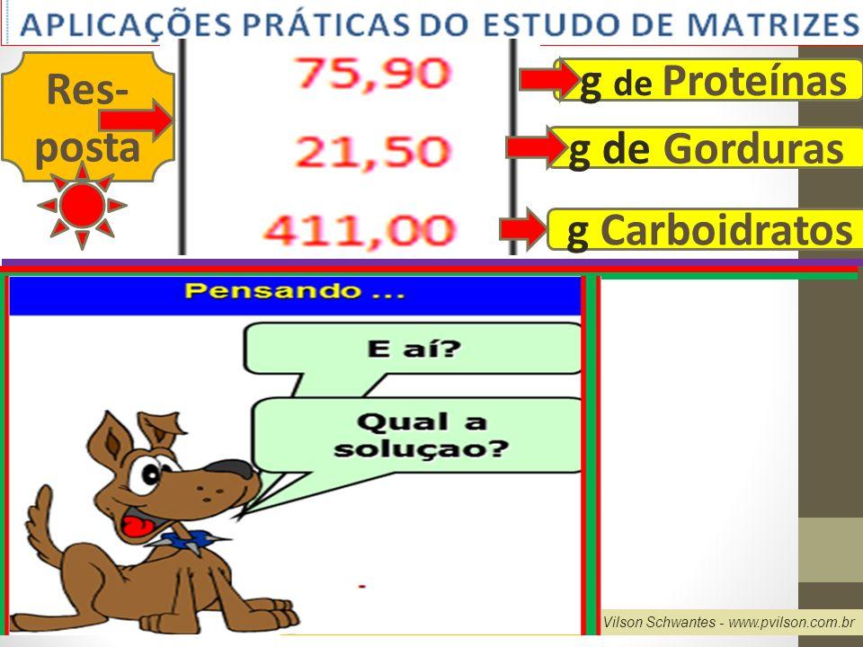 Res- posta g de Proteínas g de Gorduras g Carboidratos