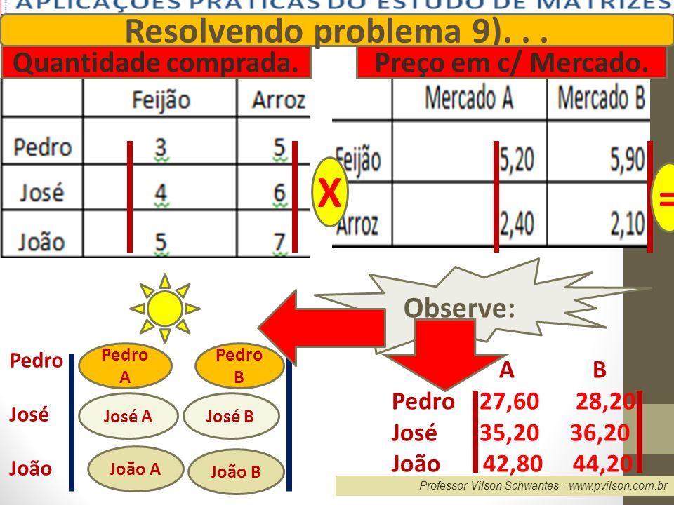 X = Resolvendo problema 9). . . Quantidade comprada.