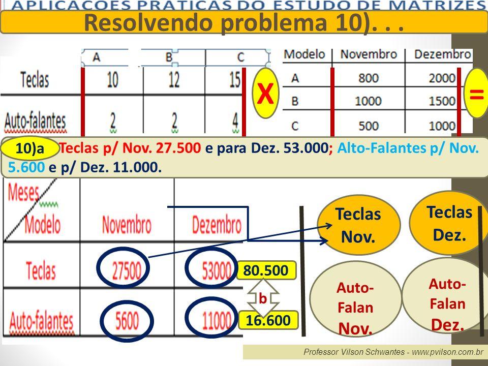 X = Resolvendo problema 10). . . Teclas Teclas Dez. Nov. Dez. Nov.