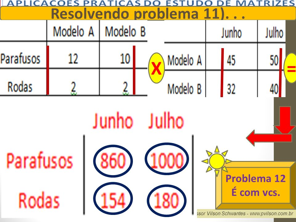X = Resolvendo problema 11). . . Problema 12 É com vcs.