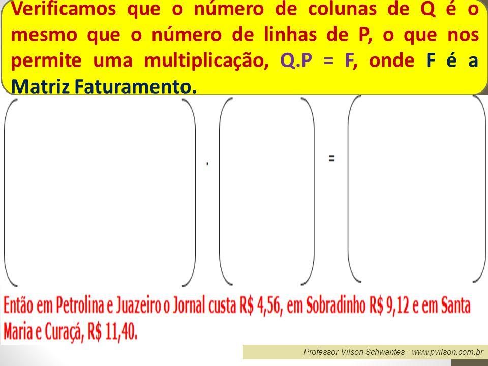 Verificamos que o número de colunas de Q é o mesmo que o número de linhas de P, o que nos permite uma multiplicação, Q.P = F, onde F é a Matriz Faturamento.