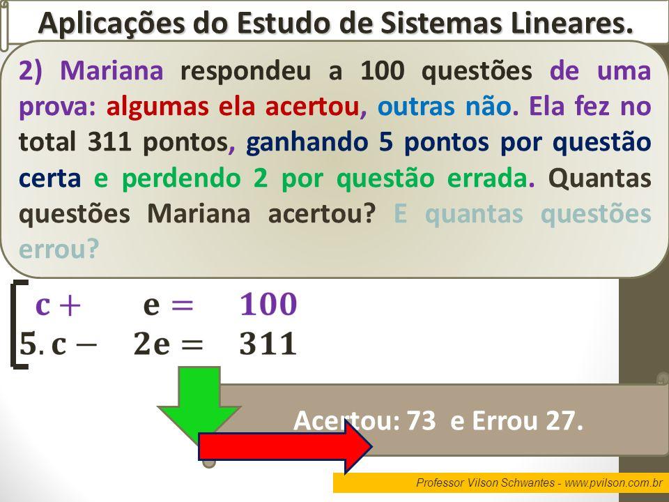 Aplicações do Estudo de Sistemas Lineares.