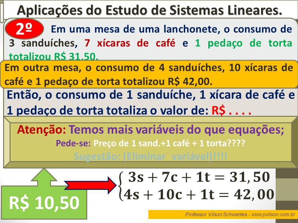 R$ 10,50 2º Aplicações do Estudo de Sistemas Lineares.