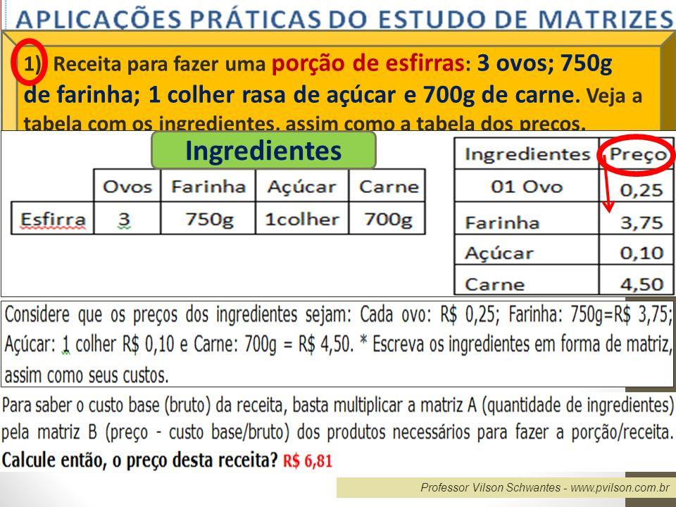 1). Receita para fazer uma porção de esfirras: 3 ovos; 750g