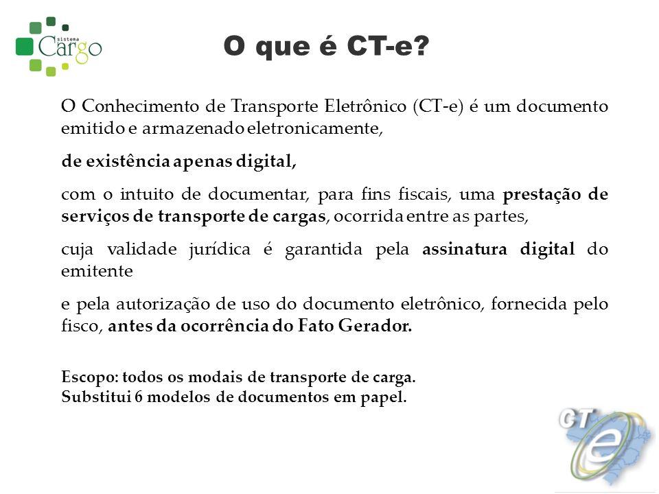 O que é CT-e O Conhecimento de Transporte Eletrônico (CT-e) é um documento emitido e armazenado eletronicamente,