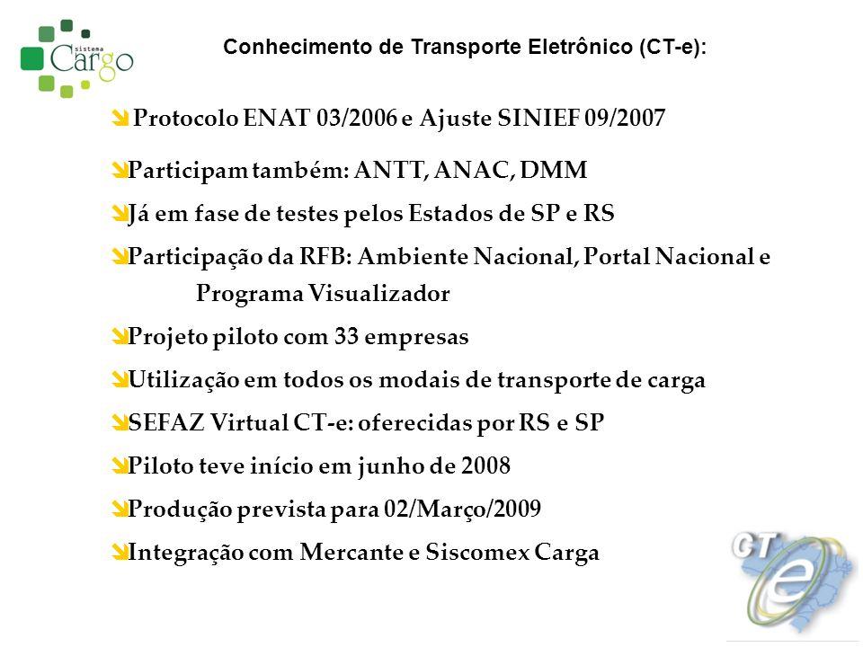 Protocolo ENAT 03/2006 e Ajuste SINIEF 09/2007