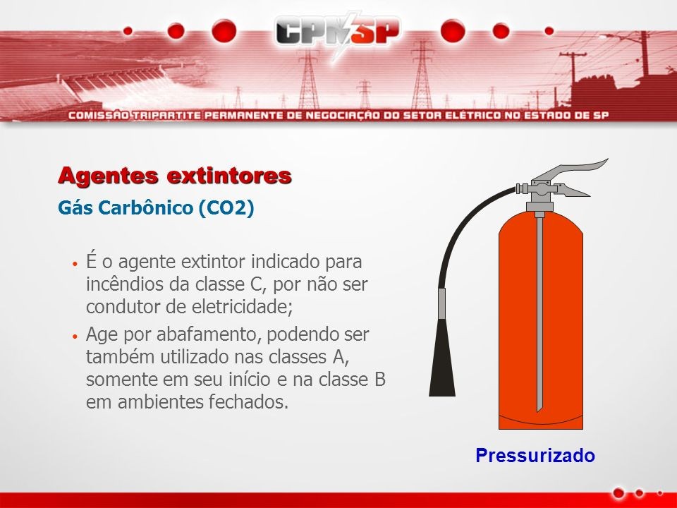 Agentes extintores Gás Carbônico (CO2)