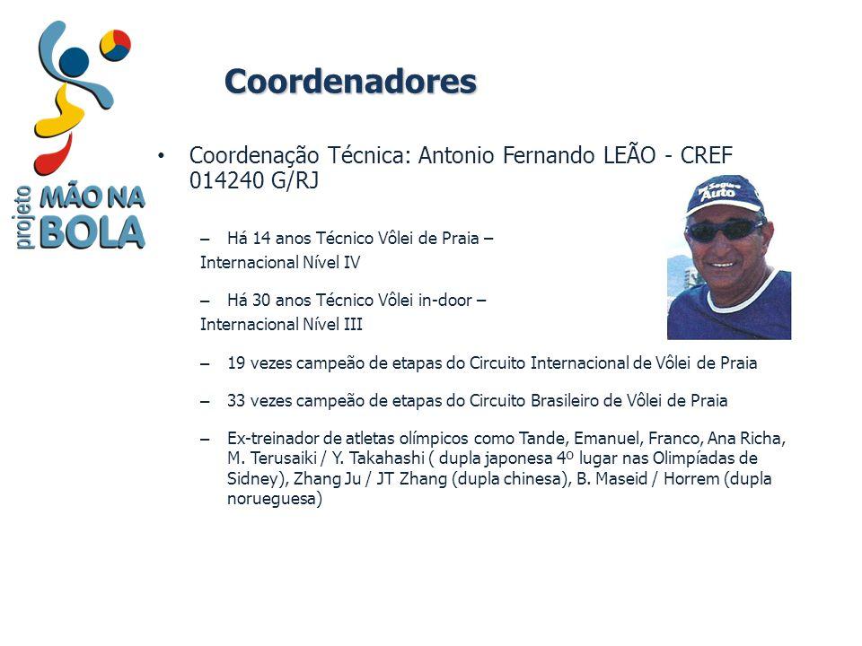 Coordenadores Coordenação Técnica: Antonio Fernando LEÃO - CREF 014240 G/RJ. Há 14 anos Técnico Vôlei de Praia –