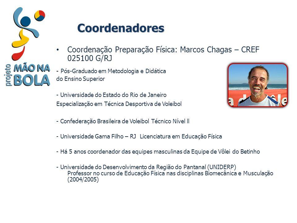 Coordenadores Coordenação Preparação Física: Marcos Chagas – CREF 025100 G/RJ. - Pós-Graduado em Metodologia e Didática.