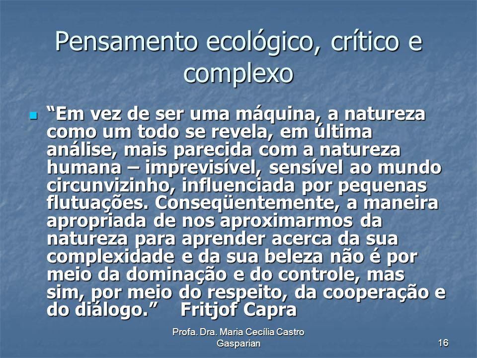 Pensamento ecológico, crítico e complexo