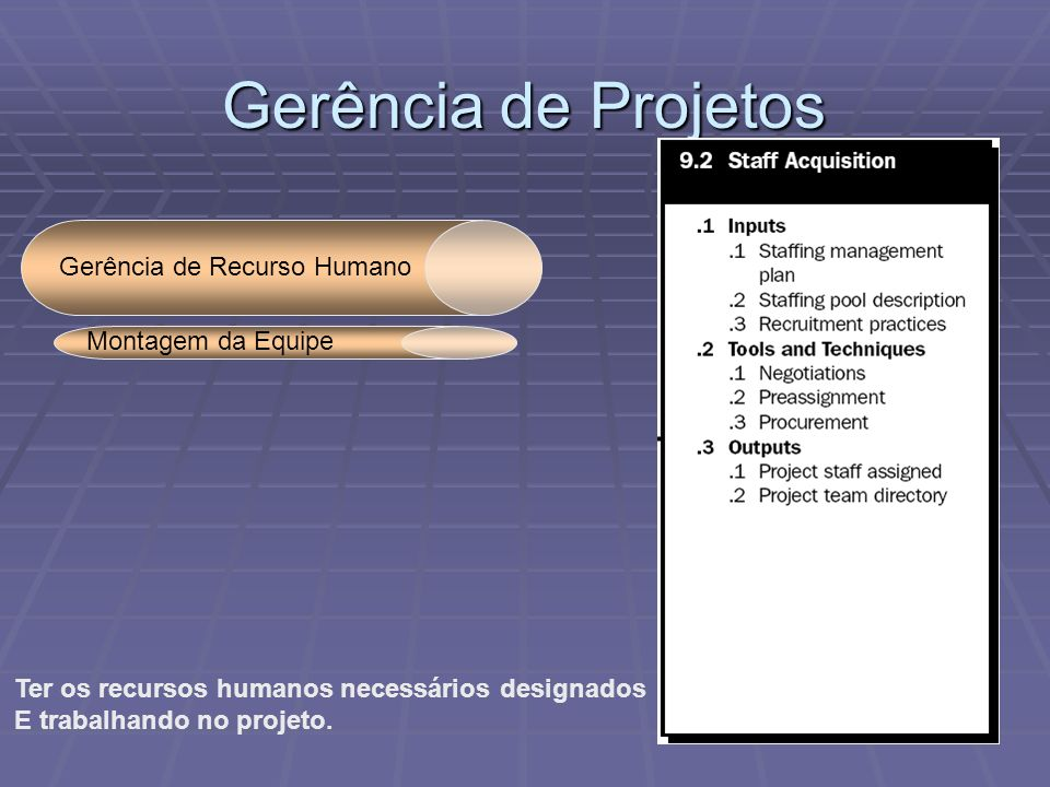 Gerência de Projetos Gerência de Recurso Humano Montagem da Equipe