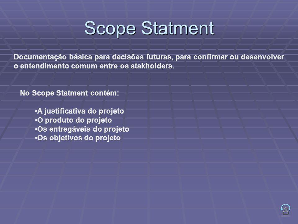 Scope Statment Documentação básica para decisões futuras, para confirmar ou desenvolver. o entendimento comum entre os stakholders.