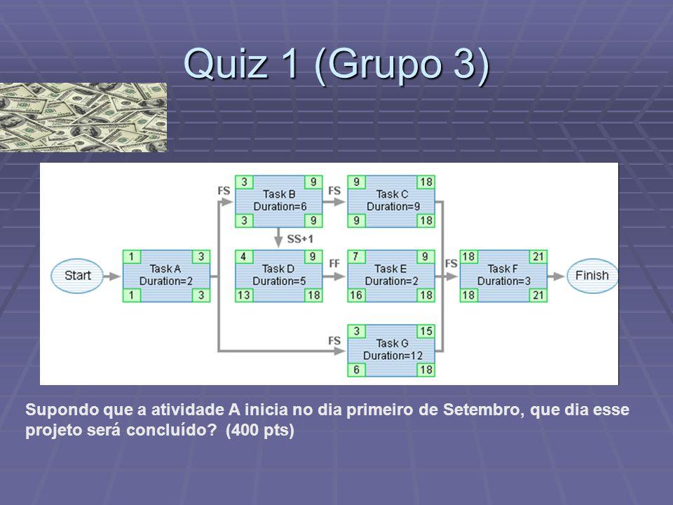 Quiz 1 (Grupo 3) Supondo que a atividade A inicia no dia primeiro de Setembro, que dia esse.