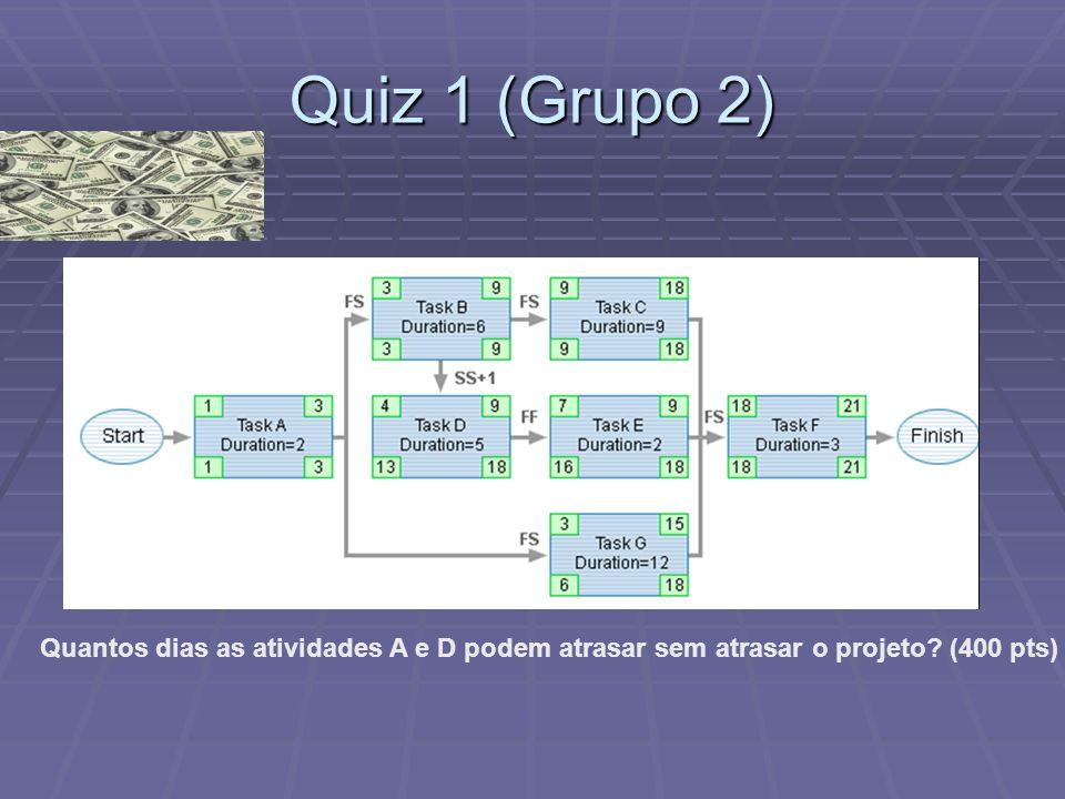 Quiz 1 (Grupo 2) Quantos dias as atividades A e D podem atrasar sem atrasar o projeto (400 pts)