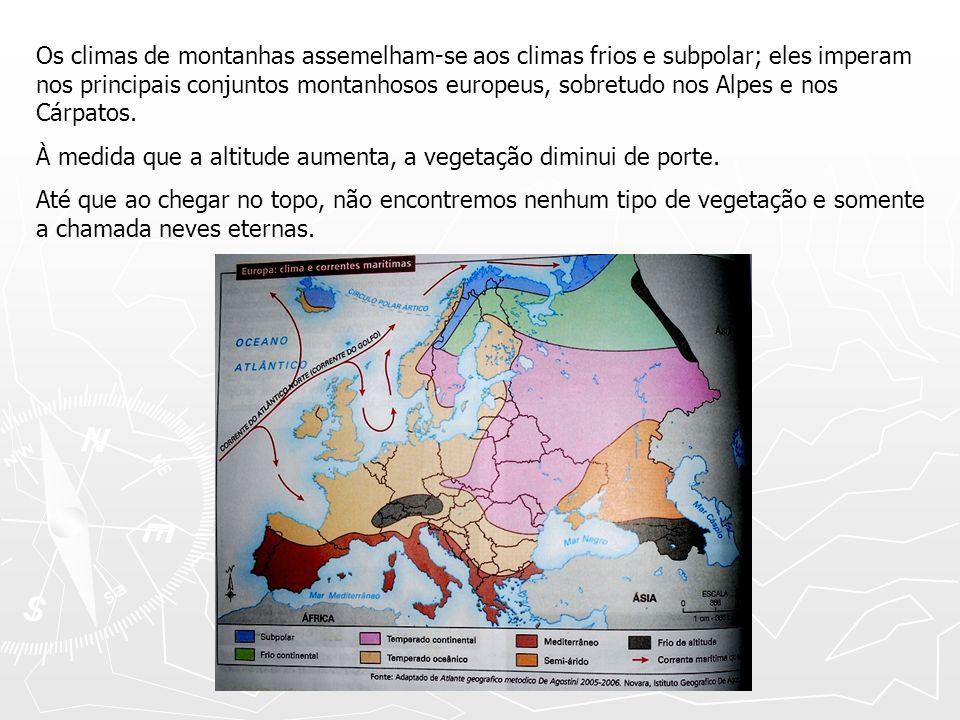 Os climas de montanhas assemelham-se aos climas frios e subpolar; eles imperam nos principais conjuntos montanhosos europeus, sobretudo nos Alpes e nos Cárpatos.