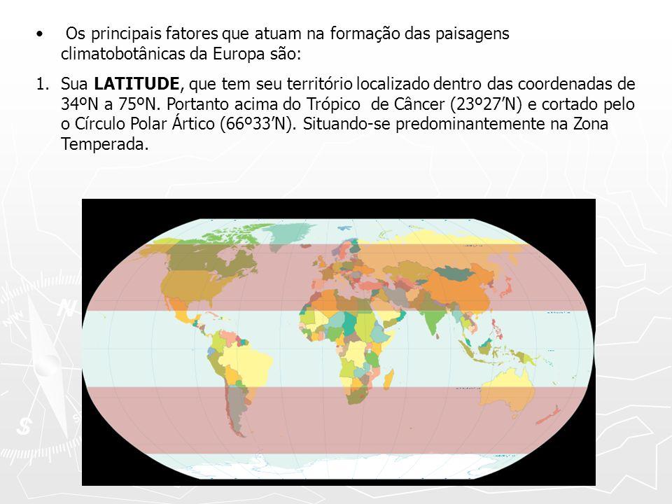 Os principais fatores que atuam na formação das paisagens climatobotânicas da Europa são: