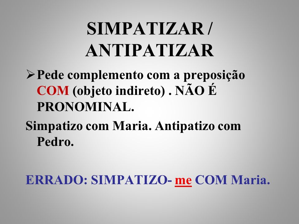 SIMPATIZAR / ANTIPATIZAR
