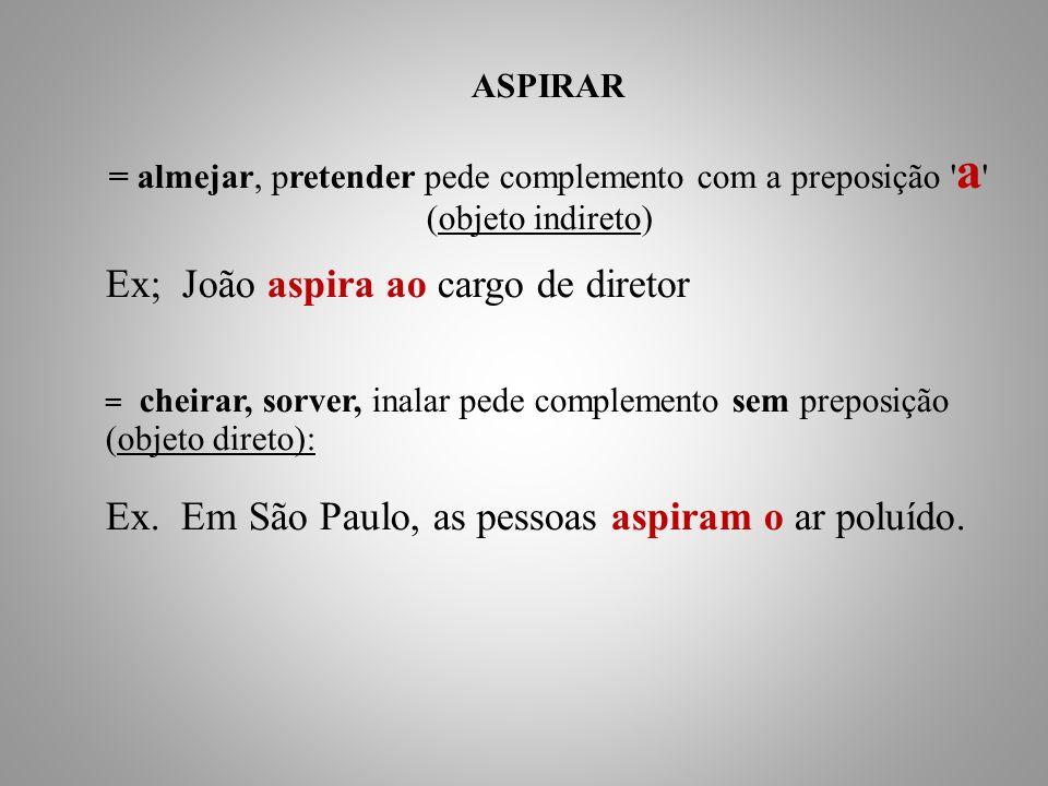 Ex; João aspira ao cargo de diretor