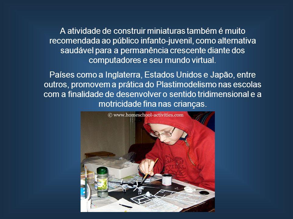 A atividade de construir miniaturas também é muito recomendada ao público infanto-juvenil, como alternativa saudável para a permanência crescente diante dos computadores e seu mundo virtual.