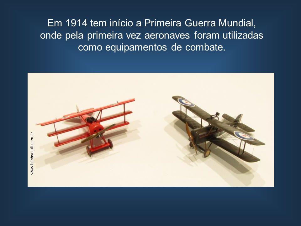 Em 1914 tem início a Primeira Guerra Mundial, onde pela primeira vez aeronaves foram utilizadas como equipamentos de combate.