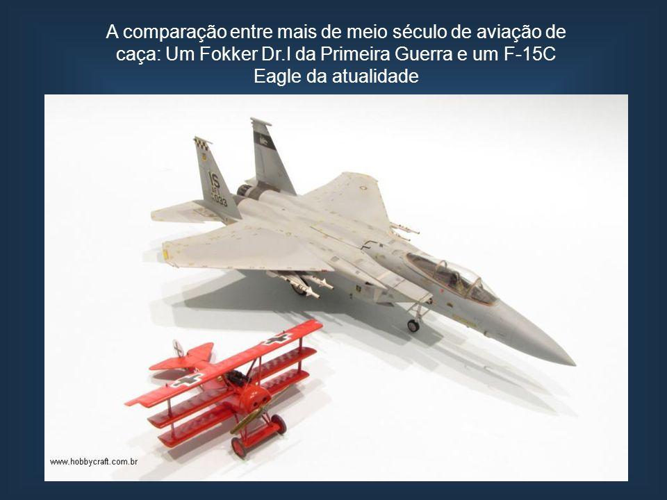 A comparação entre mais de meio século de aviação de caça: Um Fokker Dr.I da Primeira Guerra e um F-15C Eagle da atualidade