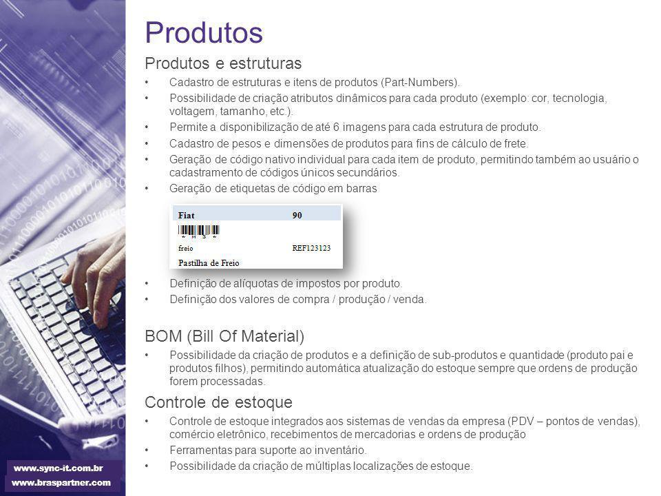 Produtos Produtos e estruturas BOM (Bill Of Material)
