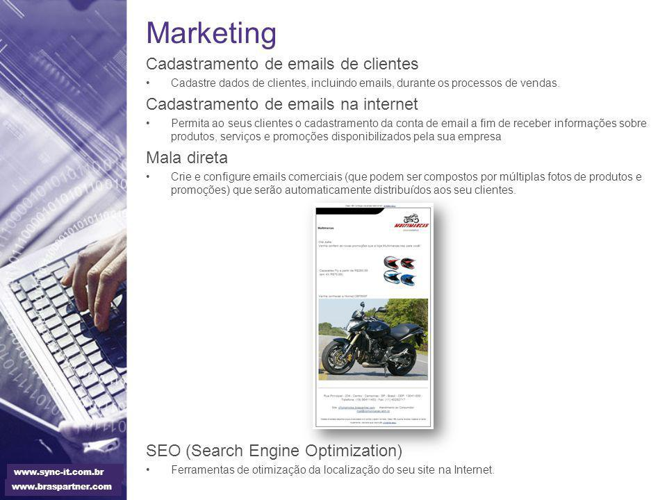 Marketing Cadastramento de emails de clientes