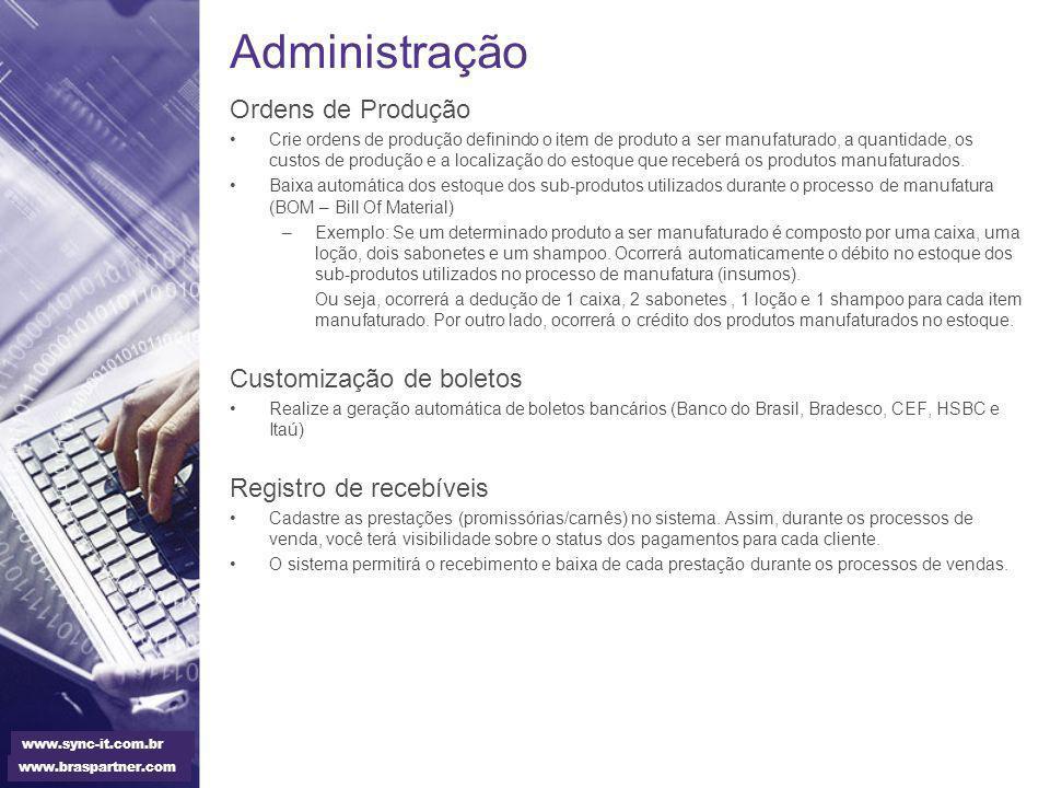 Administração Ordens de Produção Customização de boletos