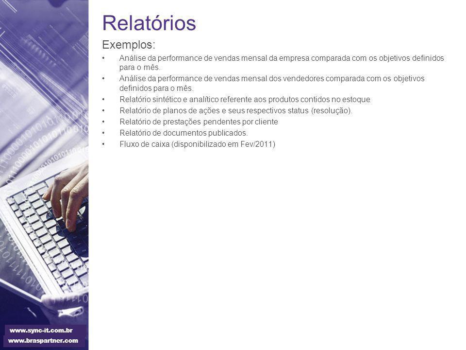 Relatórios Exemplos: Análise da performance de vendas mensal da empresa comparada com os objetivos definidos para o mês.