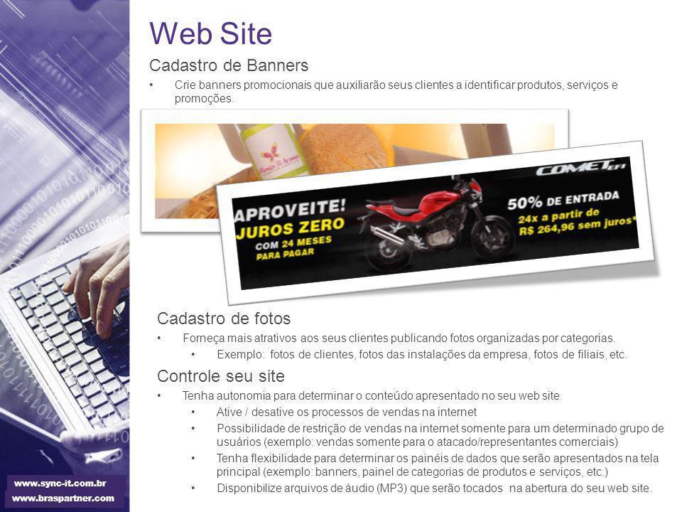Web Site Cadastro de Banners Cadastro de fotos Controle seu site