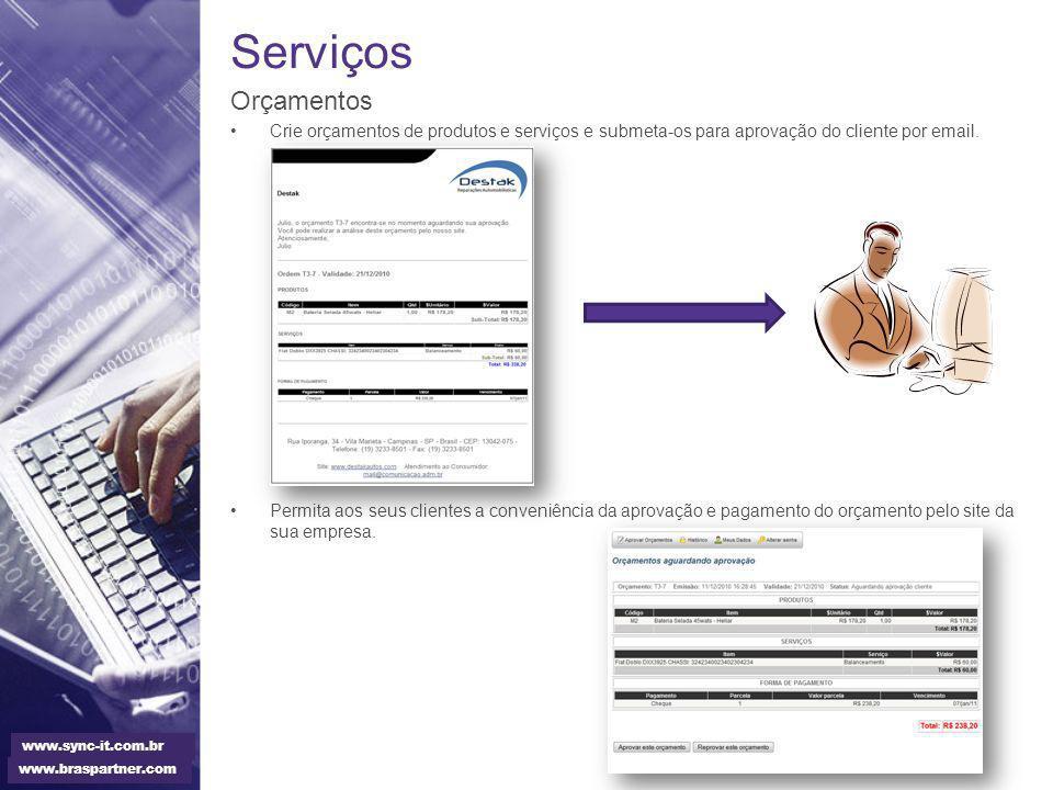 Serviços Orçamentos. Crie orçamentos de produtos e serviços e submeta-os para aprovação do cliente por email.