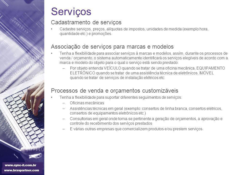 Serviços Cadastramento de serviços