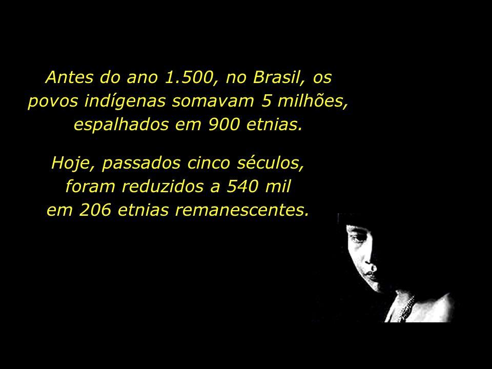 Antes do ano 1.500, no Brasil, os povos indígenas somavam 5 milhões, espalhados em 900 etnias.