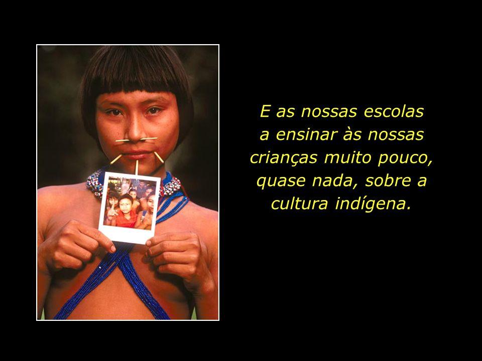 E as nossas escolas a ensinar às nossas crianças muito pouco, quase nada, sobre a cultura indígena.