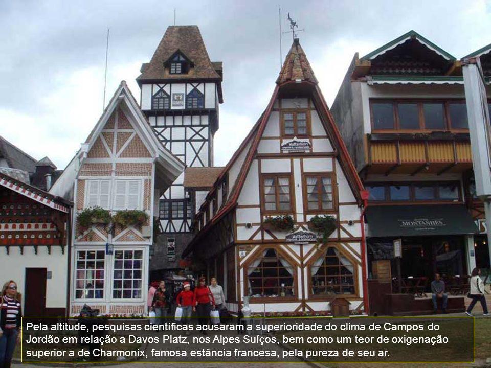 Pela altitude, pesquisas científicas acusaram a superioridade do clima de Campos do Jordão em relação a Davos Platz, nos Alpes Suíços, bem como um teor de oxigenação superior a de Charmonix, famosa estância francesa, pela pureza de seu ar.