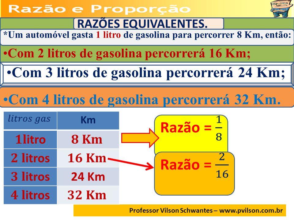 Com 3 litros de gasolina percorrerá 24 Km;
