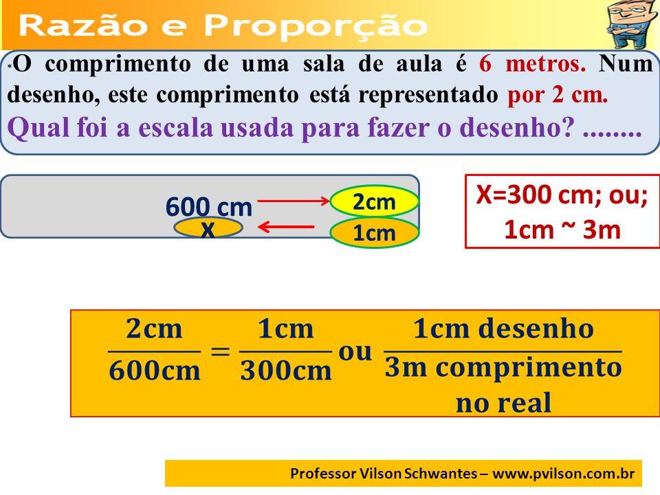 x Qual foi a escala usada para fazer o desenho ........ X=300 cm; ou;