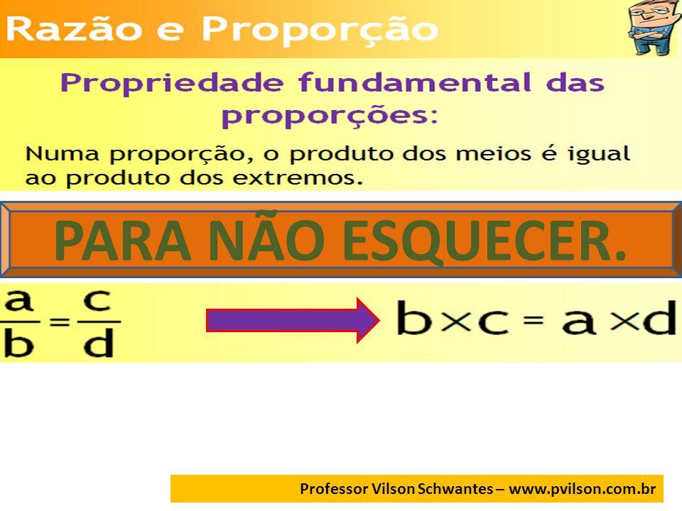 PARA NÃO ESQUECER. Professor Vilson Schwantes – www.pvilson.com.br