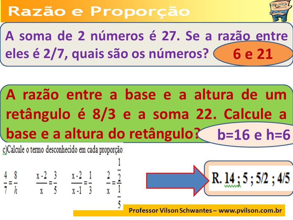 A soma de 2 números é 27. Se a razão entre eles é 2/7, quais são os números