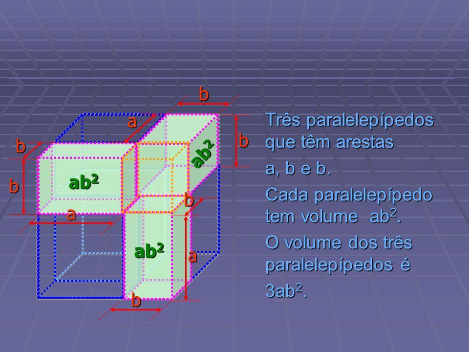 b a. Três paralelepípedos que têm arestas. a, b e b. Cada paralelepípedo tem volume ab2. O volume dos três paralelepípedos é.