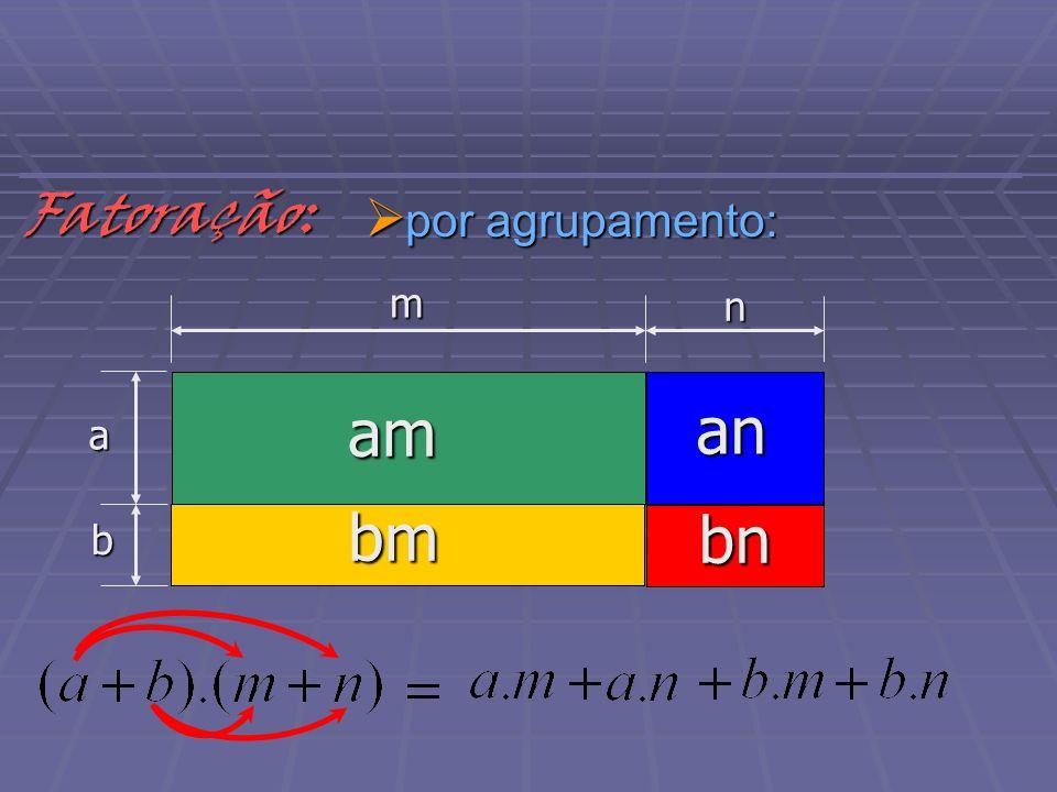 Fatoração: por agrupamento: m n a am an bm b bn