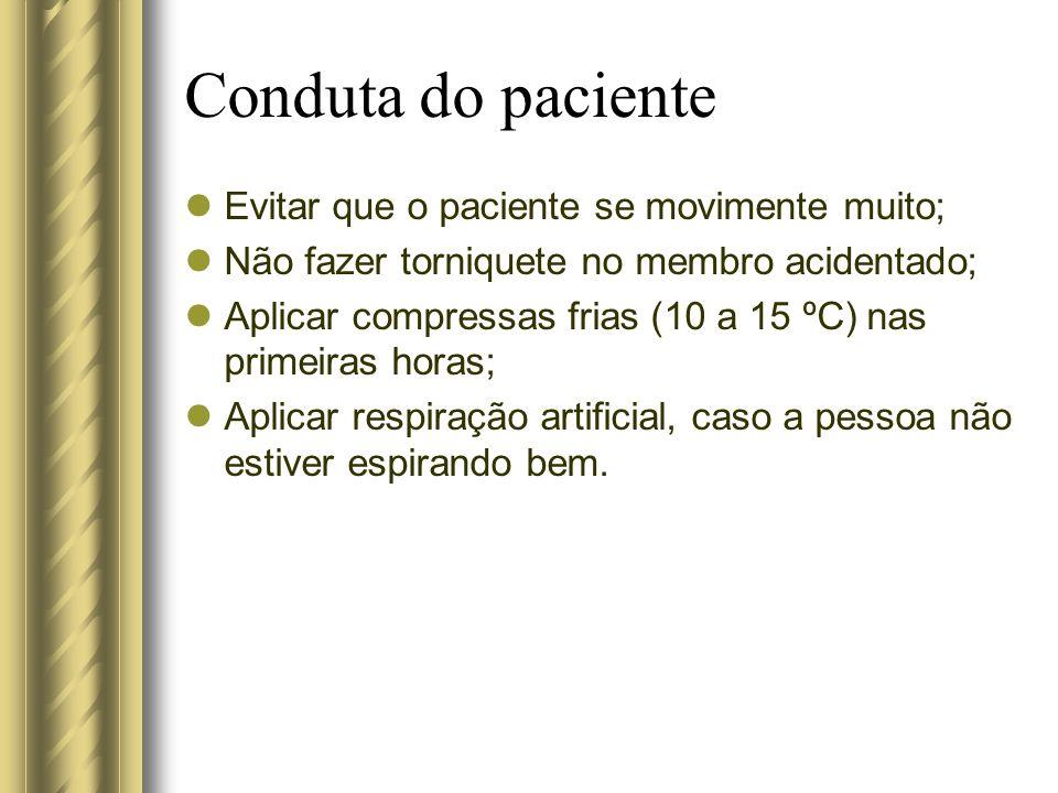 Conduta do paciente Evitar que o paciente se movimente muito;