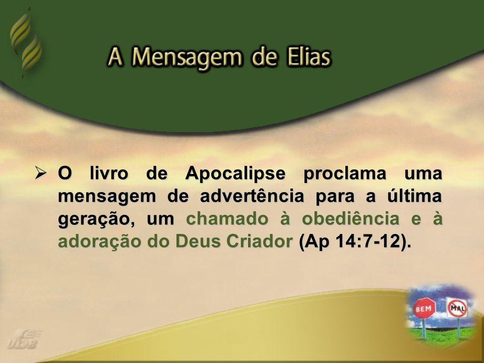 O livro de Apocalipse proclama uma mensagem de advertência para a última geração, um chamado à obediência e à adoração do Deus Criador (Ap 14:7-12).
