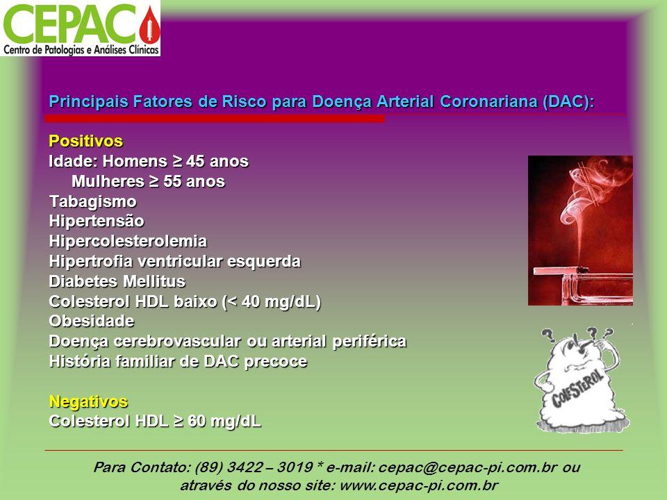 Principais Fatores de Risco para Doença Arterial Coronariana (DAC):
