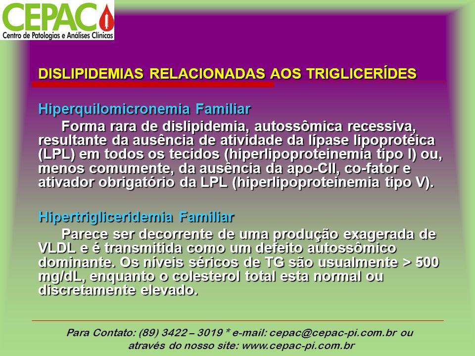 DISLIPIDEMIAS RELACIONADAS AOS TRIGLICERÍDES